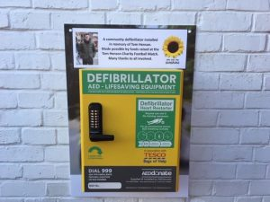 One of the first defibrillators funded and installed by us in Carr Vale.