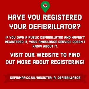 Our promotional poster encouraging people to register their defibrillators.